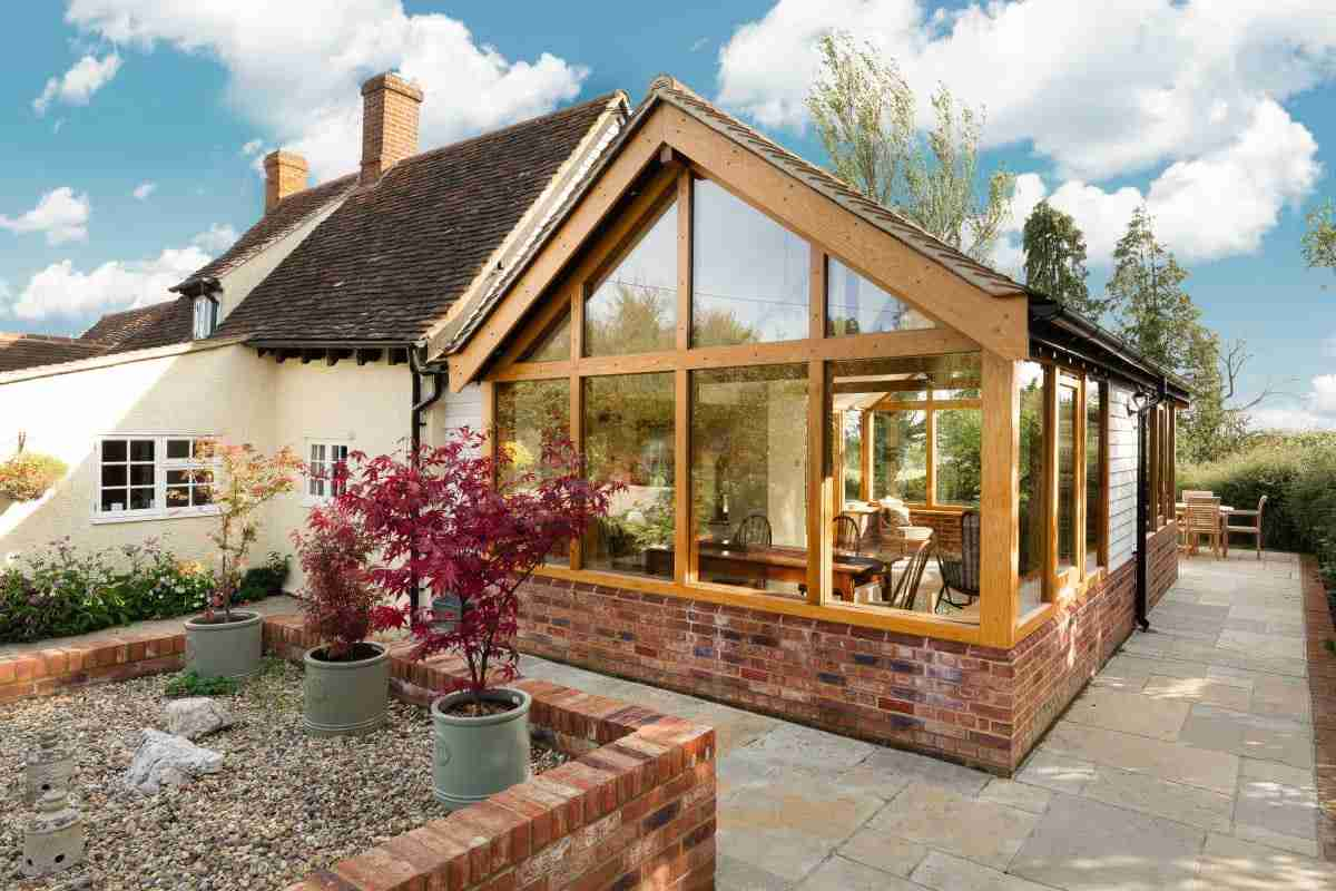 Oak framed garden room and porch
