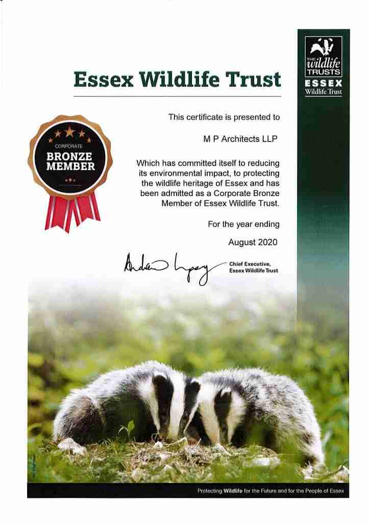 Essex Wildlife Membership Certificate 2020