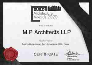 2020 Architecture Awards Certificate